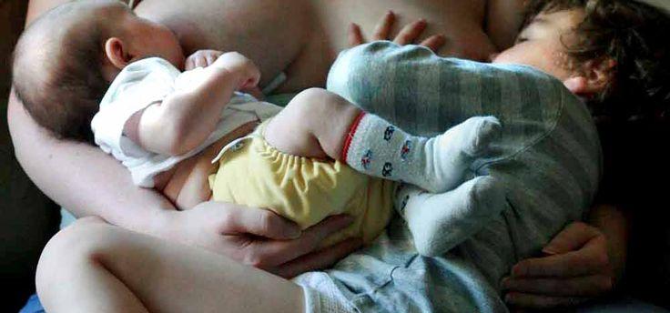 Tandem breastfeeding a newborn & preschooler