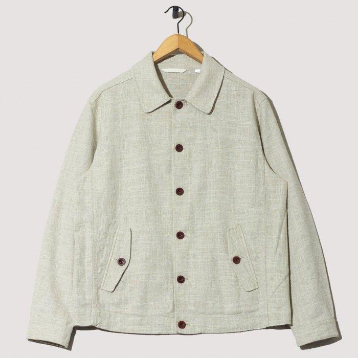 Linen Coach Jacket - Dry Sand | Gant Rugger | Peggs & son.
