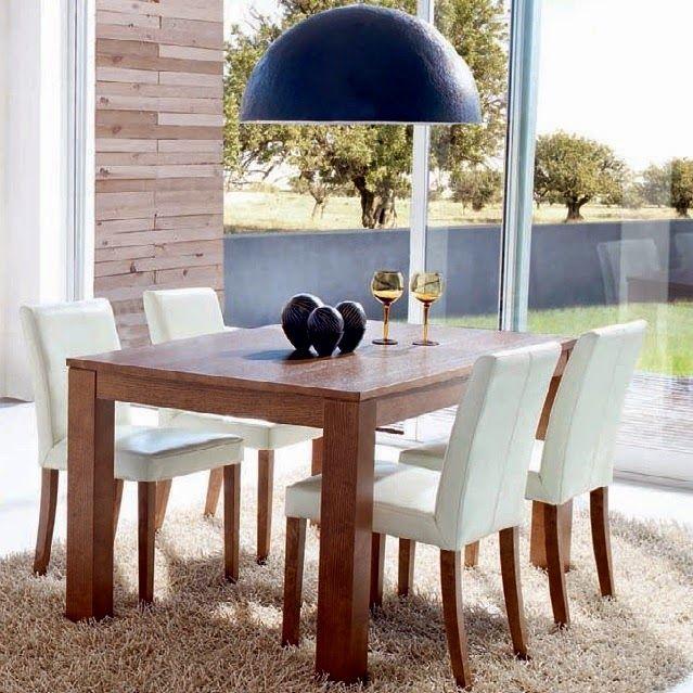 Mesa extensible CUADRADA  Estilo: Mueble contemporáneo.  Acabados: Madera deroblecolor Naturale, Noce, Visone o Rosso (tintes) y Bianco Ne...
