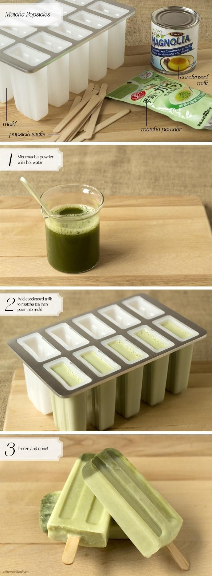 Matcha Green Tea Latte Popsicles - would maybe try almond milk.