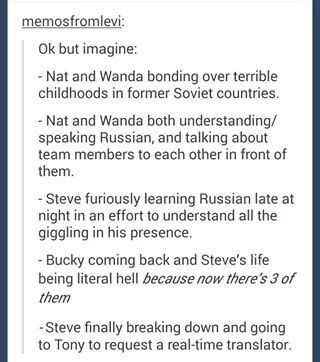 Yes this headcanon is life. All the Russian going on behind Steve's back.