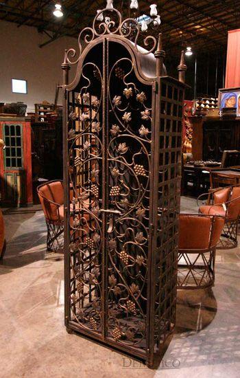the napa wrought iron wine cabinet is one of our most unique pieces rh pinterest com Unique Wrought Iron Wine Racks Unique Wrought Iron Wine Racks