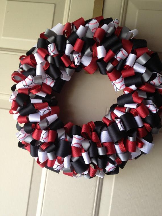 Cincinnati Reds Baseball Ribbon Wreath Red by KatieRibbonWreaths, $40.00