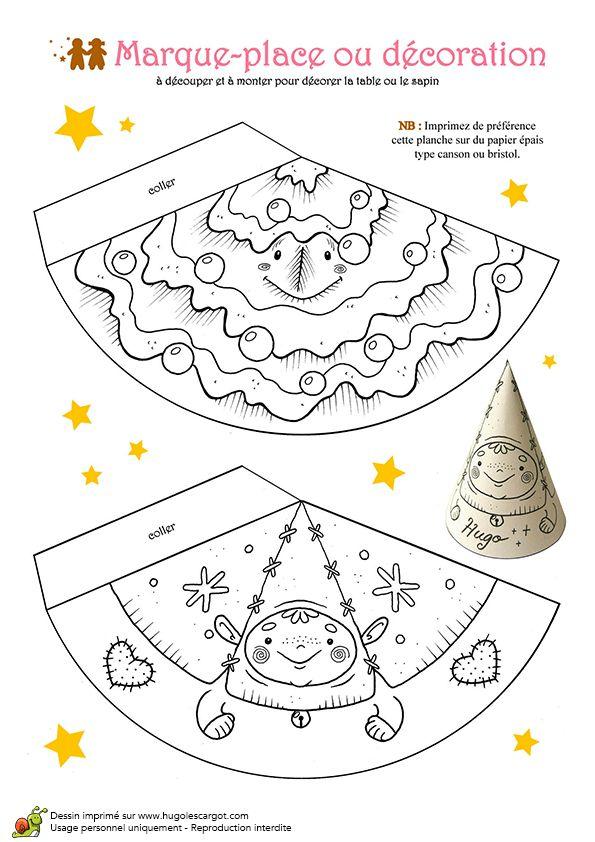 Coloriage et activités Noël tendresse, marque-place sapins et lutins - Hugolescargot.com