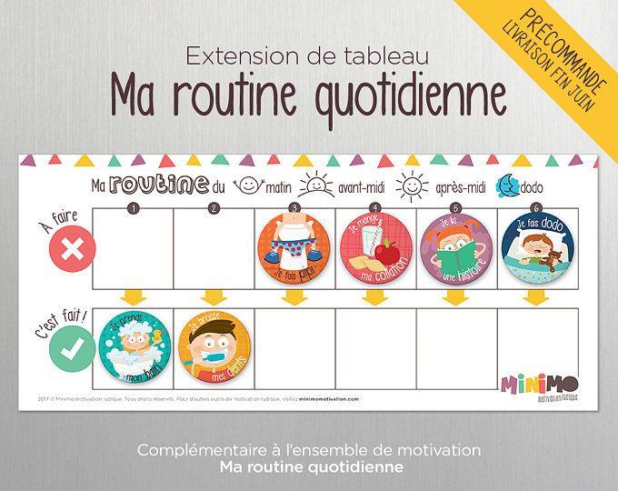Extension de tableau Ma routine quotidienne - Routine - Enfant - Tableau aimanté effaçable à sec - Routine - Calendrier - Tâches - Minimo