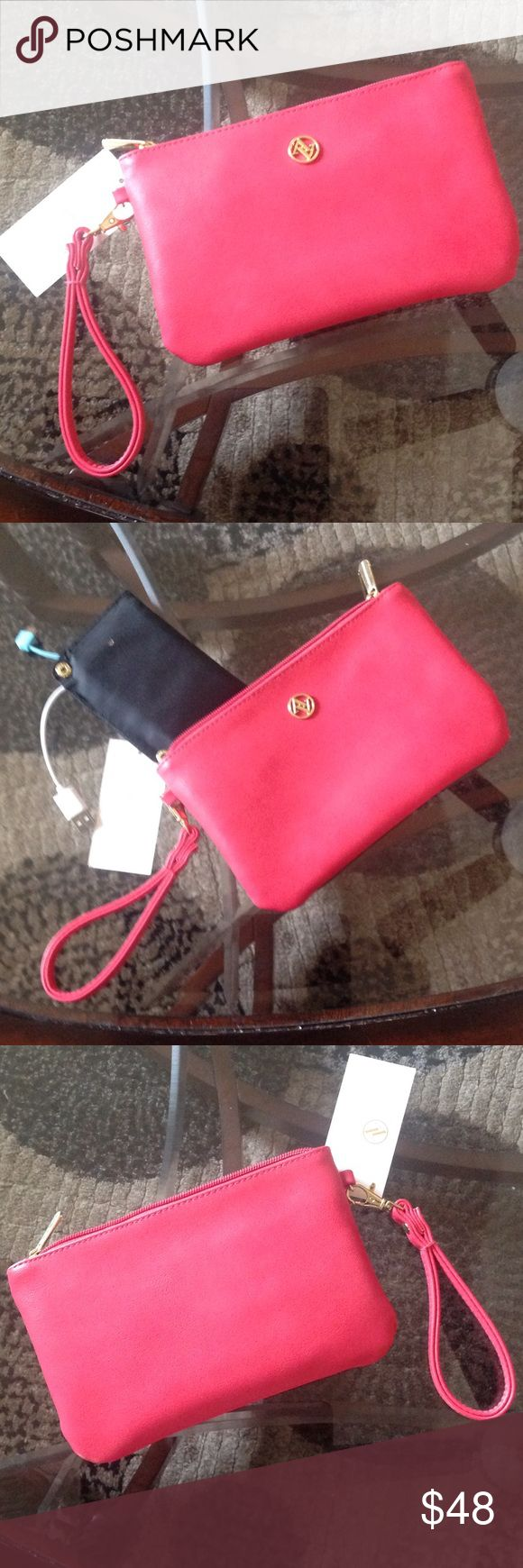 "NEW! ADRiENNE VITTADINI CHARGING WALLET/WRISTLET BRAND NEW! ADRiENNE VITTADINI ""CORAL"" CHARGING WALLET!! pockets for Cards, inside!! Approximate Measurements 8 1/4"" X 5 1/2""....EXCELLENT NEW CONDITION!! Adrienne Vittadini Bags Wallets"
