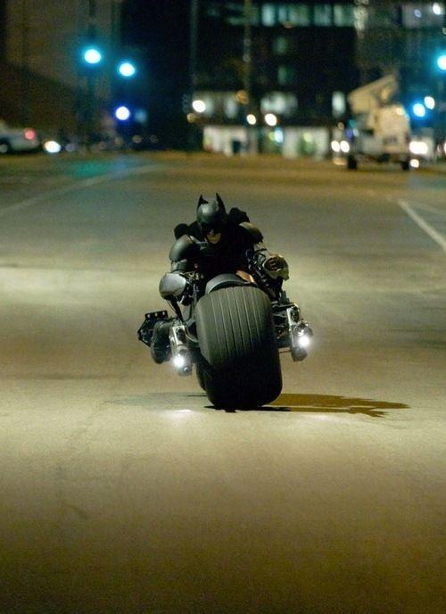 The Dark Knight on the Bat-pod