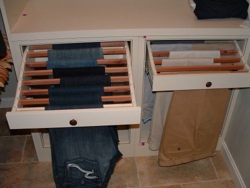 Closet - slide out slats for hanging pants/jeans. Brilliant. Would also be great for the laundry room as a drying rack
