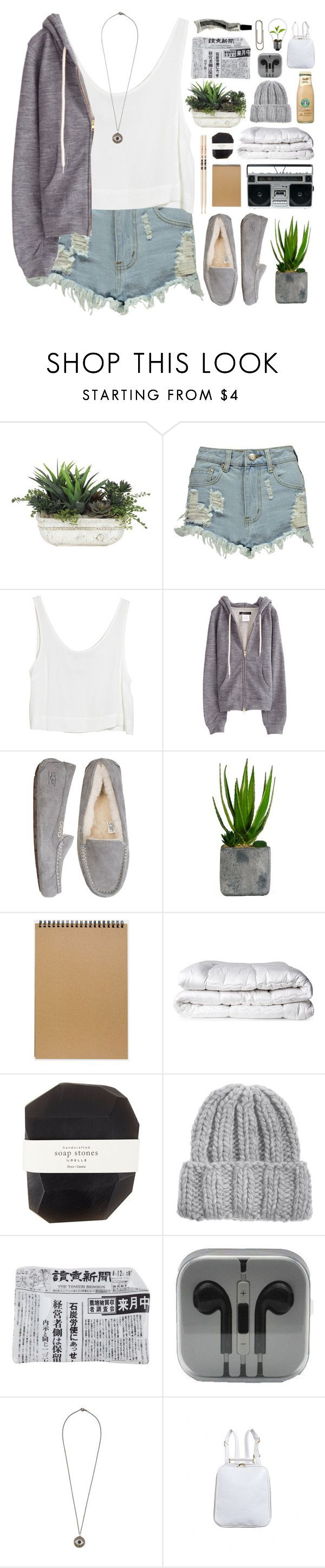 """lazy day"" by innesdesigns ❤ liked on Polyvore featuring Lux-Art Silks, Boohoo, MINKPINK, UGG Australia, Laura Ashley, Muji, Firth, Brinkhaus, Pelle and KISS by Fiona Bennett"