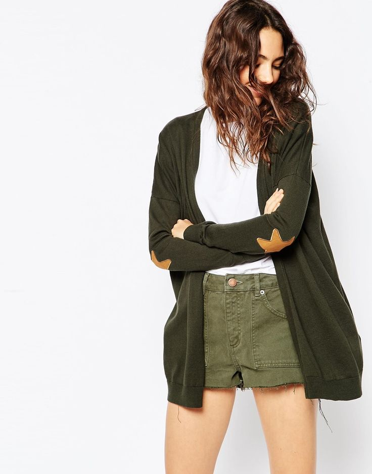 ASOS+Swing+Cardigan+With+Suedette+Star+Elbow+Patch