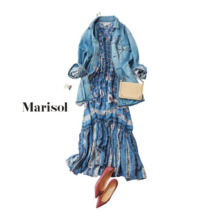 アラフォーだからこそ花柄マキシワンピはGジャンでラフに着こなしてMarisol ONLINE|女っぷり上々!40代をもっとキレイに。