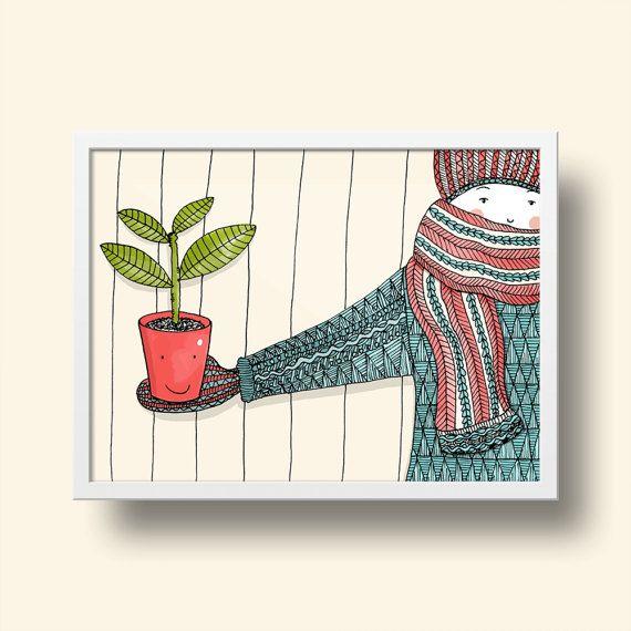 Poster A4 Art Print - Alsjeblieft, een plant! -  Dit is een print van een oorspronkelijk handgetekende illustratie (Illustratie Esther Mols.) die vervolgens gescand en gedigitaliseerd is. Prachtig in een lijst aan de muur.  • Details • Papier: gedrukt op 200 gram papier. Formaat DIN A4 (29,7 x 21 cm)  Werkelijke kleuren kunnen afwijken van de kleuren op het beeldscherm.  Vragen of opmerkingen? Stuur me een berichtje en ik help je graag! :-)