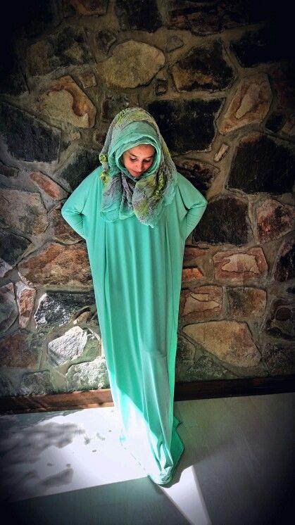 Mint green dress abaya