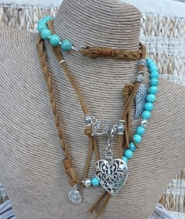 Turquoise suede wrap