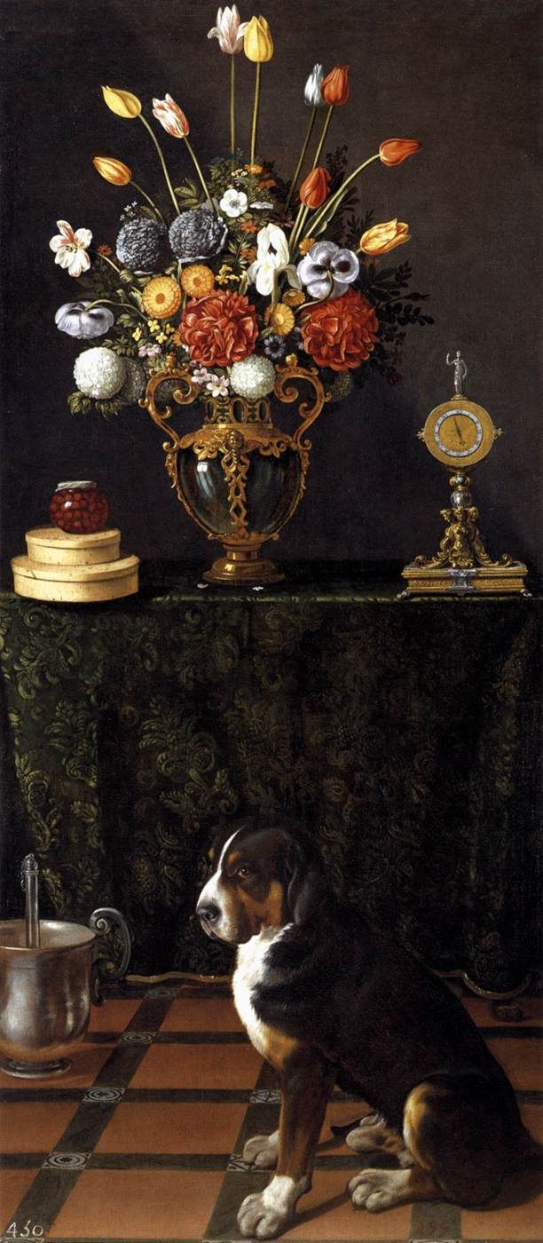Still Life with Flowers and a Dog - Juan van der Hamen, c. 1625-30 Oil on canvas, 228 x 95 cm Museo del Prado, Madrid: