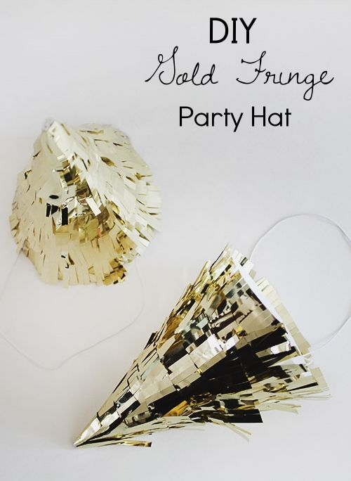 Why not make your own DIY gold fringe party hats for New Year's Eve? These are so easy and they would make for some great pics! #newyearseve #newyearsparty #newyearsfavors #partyfavors #newyarsevehats