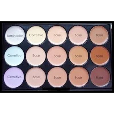 Paleta De Corretivo Iluminadores Maquiagem Miss Rose 15cores - R$ 55,20 em Mercado Livre