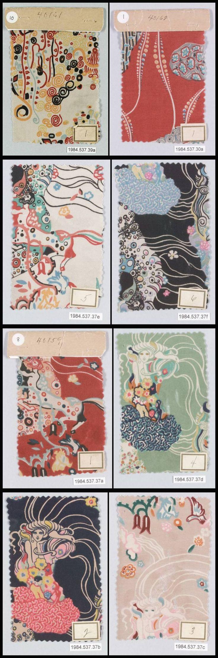 Gustav Klimt Textile Samples, Wiener Werkstätte, ca.1920.