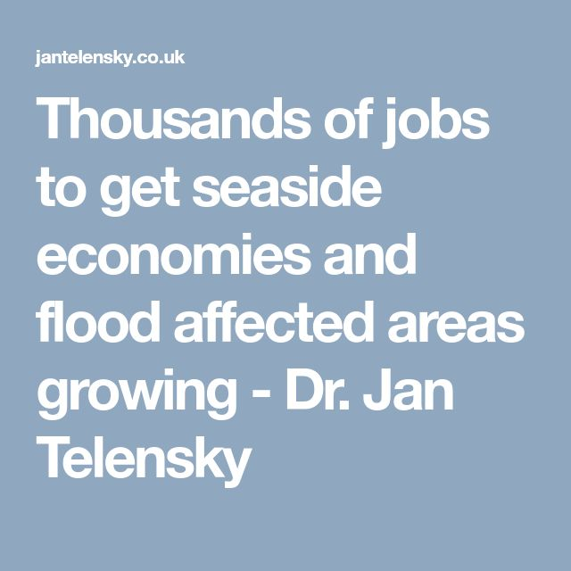 Thousands of jobs to get seaside economies and flood affected areas growing - Dr. Jan Telensky