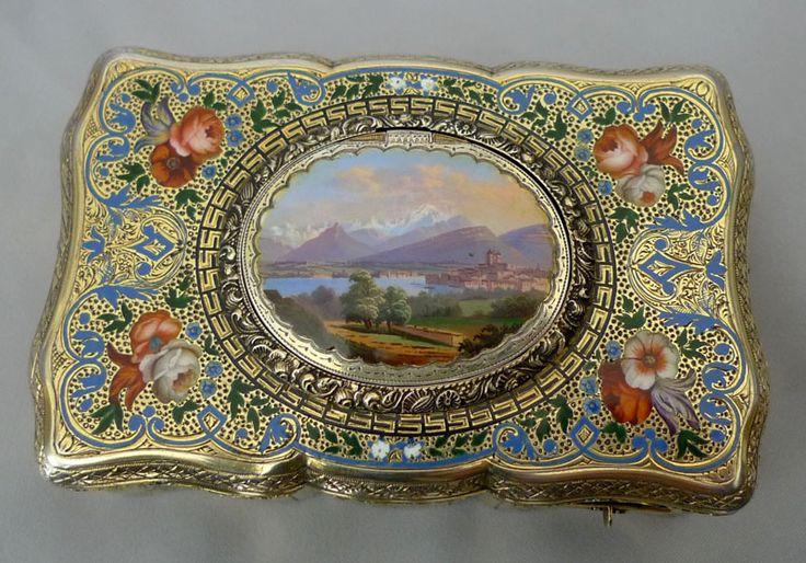 Antique Bruguier singing bird box, fusee movement, silver gilt and enamel case. - Gavin Douglas Antiques