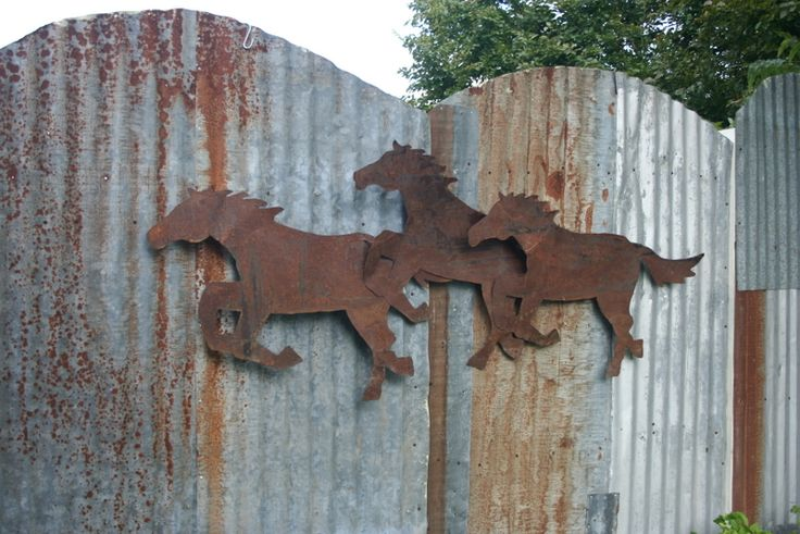 Corrugated Tin Fence With Rusty Metal Horse Decor Re