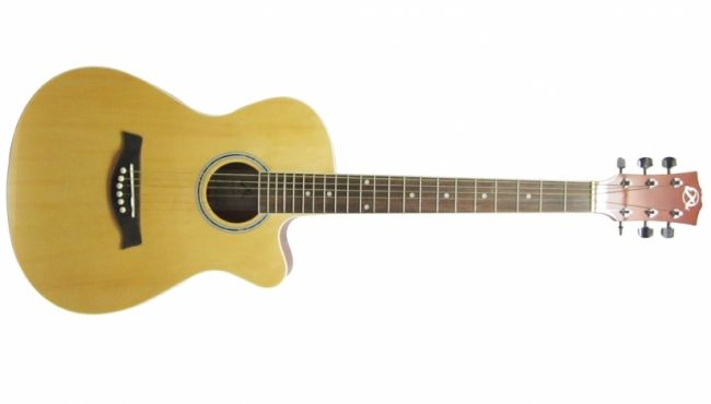 """Exl BMH 3802N Acoustic Guitar @ 5000. 38"""", 21 Frets, Round Hole with Cutaway, Covered Keys"""