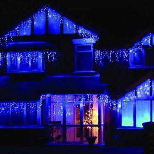 LEDwholesalers 16 Feet 128 LEDs Icicle Christmas Holiday Lights with White Wire, Blue Light, X059BU  LEDwholesalers $26.00