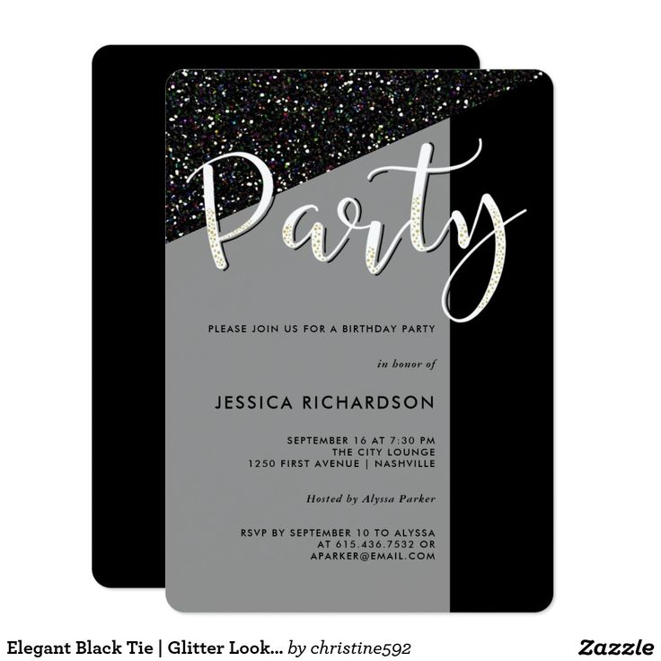 Elegant Black Tie Glitter Look Party