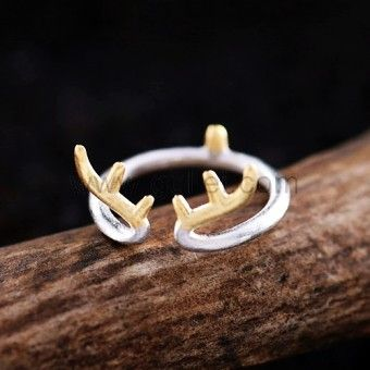 Gullei.com Unique Horns Shaped Sterling Silver Adjustable Women Ring