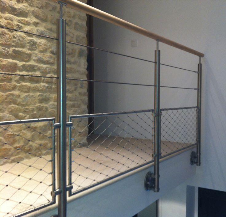 Garde corps 2 cables et filet partie basse balustrade for Garde corps mezzanine bois