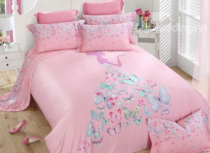 Chic Butterfly Girl Print Pink 4 Piece Tencel Bedding Sets