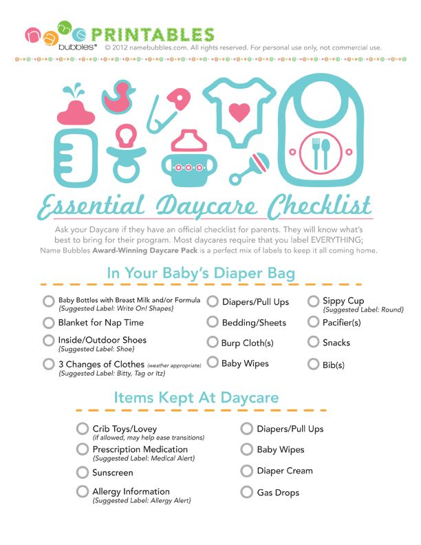 The Essential Daycare Checklist! Great to give those new parents!!