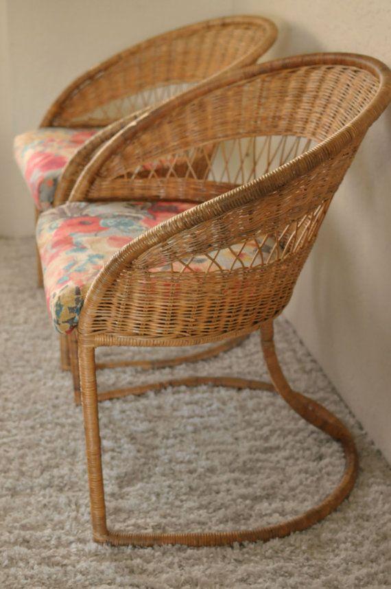 Pair of Rattan Horseshoe Sunroom Chairs/Wicker Bungalow ...