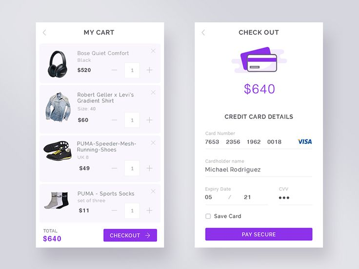 A sneak peek of my daily UI - Credit Card check out and Cart view UI.