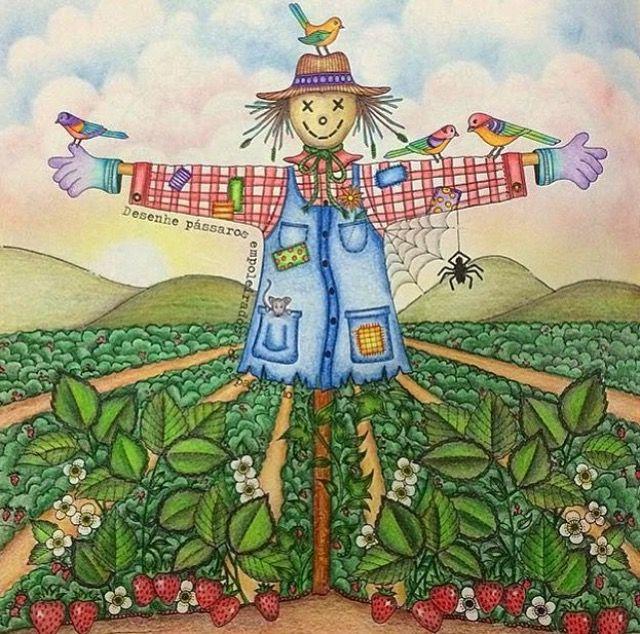 Adult Coloring Books Colouring Secret Gardens Johanna Basford Garden Scarecrows Pencil Art Paisley Doodles