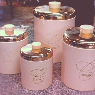 Vintage Kitchen Canisters In The Perfect Shade Of Pastel Pink Rue M Magazine On One Kings Lane S Instagr