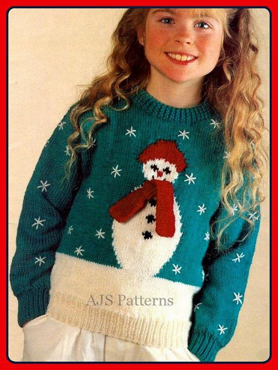 Free Christmas Knitting Patterns Jumpers : Pdf knitting pattern for a childs or womans festive