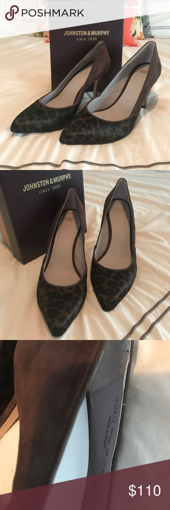 """Johnston & Murphy Vanessa Pump Never Worn - pristine condition, For a classic silhouette that's timeless yet versatile, step into the Vanessa from Johnston & Murphy. This pointed toe pump goes with absolutely anything! FEATURES:  Embossed suede and calf hair. Pointed toe, water resistant, Cushioned insole, 3"""" covered heel, Leather sole.  Original box, smoke free home.  Color:  Dark Brown Suede Johnston & Murphy Shoes Heels"""