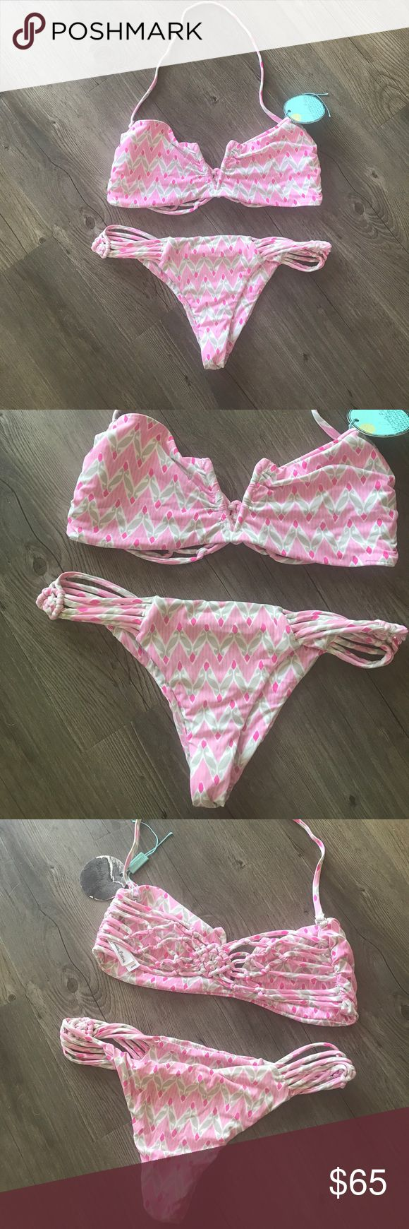 Tribal bikini Pink tribal/Navajo Frankies bikini set.  Top is size large bottoms are small.  No trades or modeling please!! Only selling as a set!  Top has tags bottoms don't. Frankie's Bikinis Swim Bikinis
