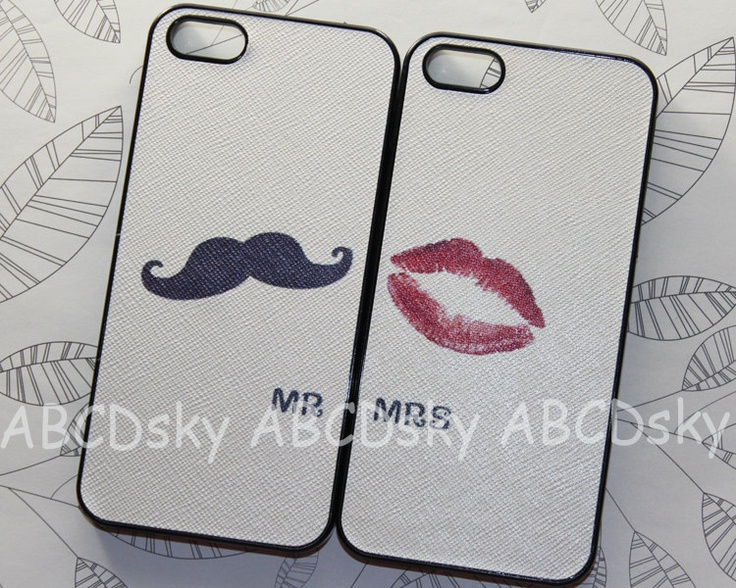 IPhone 5 Case - Cute black Mustache and red mouth SET iPhone case, pu Leather paste case ,iphone 5 hard case, Iphone 5 cover. $17.99, via Etsy.