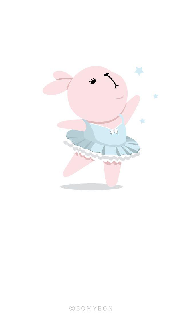 아이폰배경화면)  아이폰5/SE 배경화면_발레리나 토끼3 iphone5/se background_Ballerina Rabbit <copyright ⓒ Bomyeon>  instagram @bomyeon_