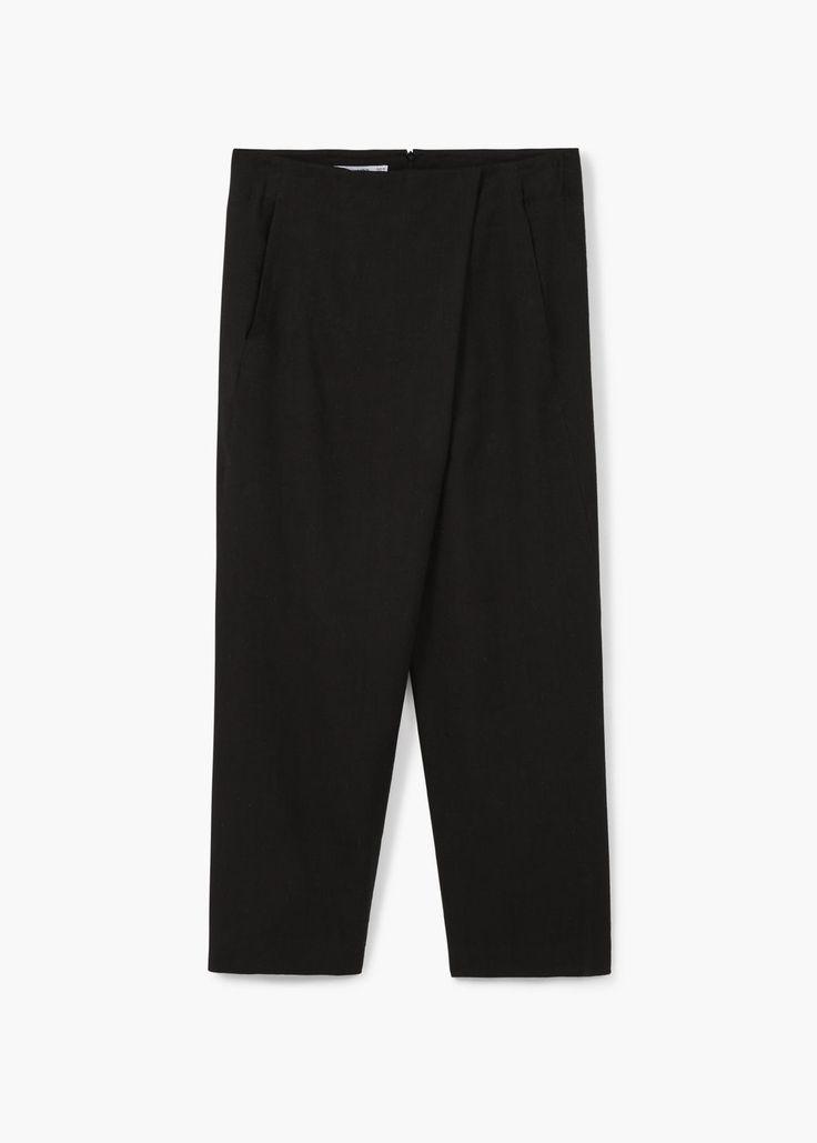 Premium - льняные брюки с косым гульфиком   MANGO МАНГО