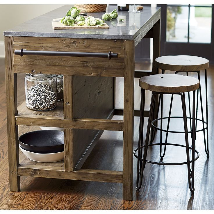 Bluestone Reclaimed Wood Large Kitchen Island | Crate and Barrel