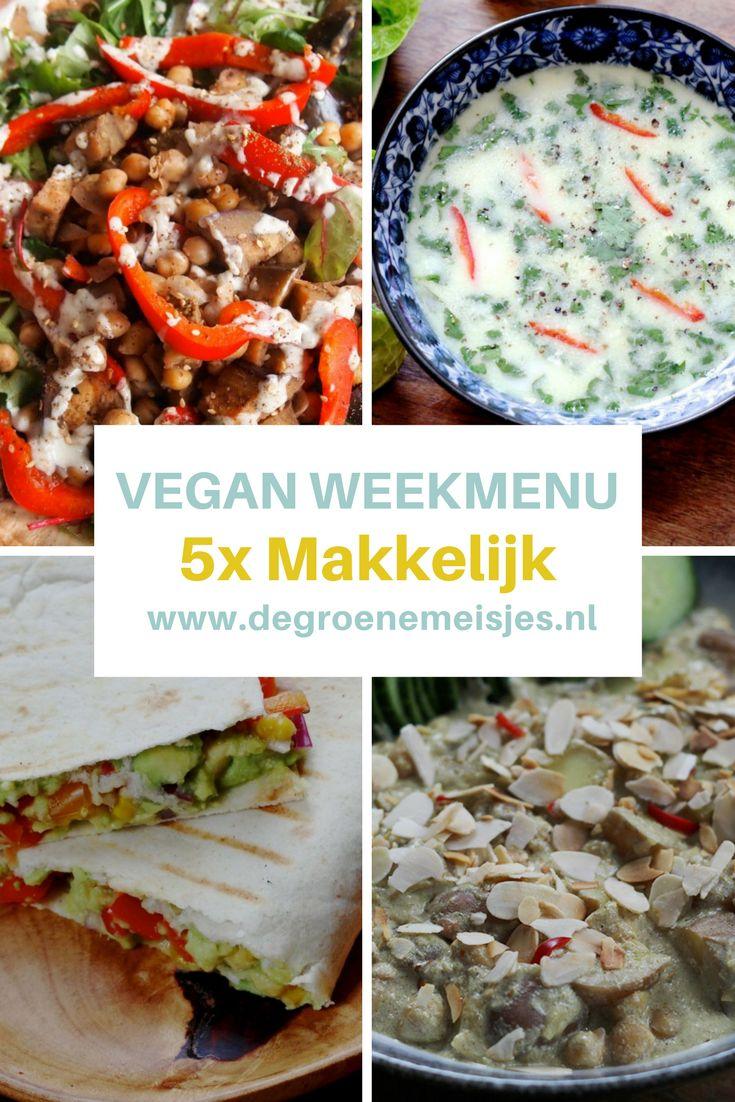vegan weekmenu met 5 makkelijke recepten van de groene meisjes zoals Salade met kikkererwten, za'atar en tahin, Vegan Kip Korma , Thaise kokossoep, Quesadillas en Falafelbowl