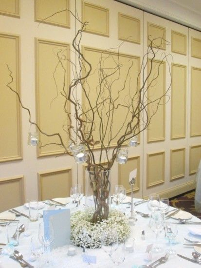 Willow twigs with gyp surround and hanging tealights