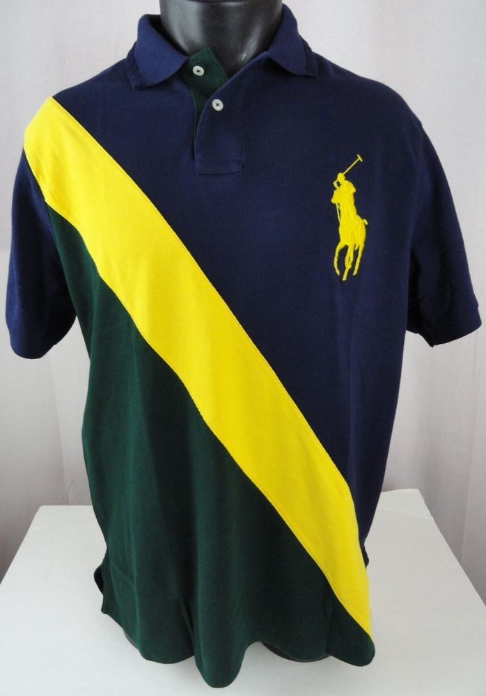 NWT Polo Ralph Lauren BIG PONY XL Mens Rugby Shirt Banner SS Blue Yellow Green  #PoloRalphLauren #PoloRugby