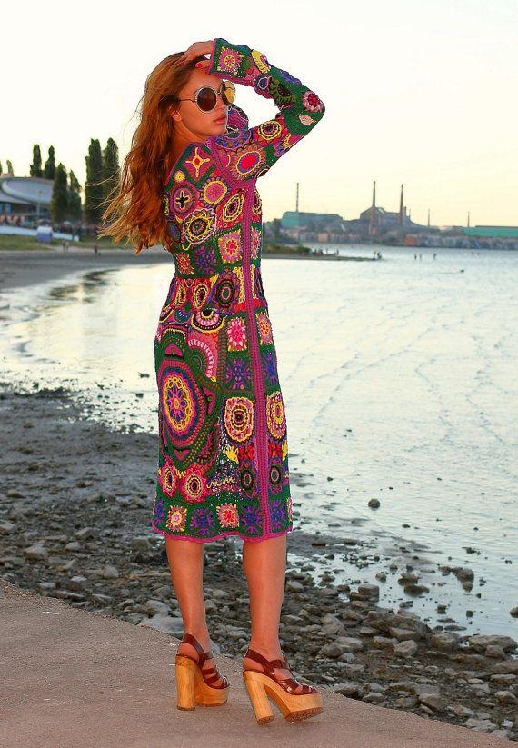 VENDU au Crochet robe Bohème à la main tricot robe par Balarri