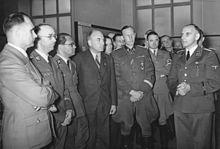 Rudolf Heß, Heinrich Himmler, Philipp Bouhler, Reich Minister Todt and Reinhard Heydrich (from left) at a Generalplan Ost exhibition, 1941