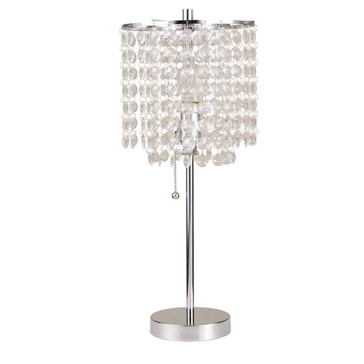 """Major-Q (19""""H-8315) + Night light Decorative Designer Crystal Like Floor Lamp/Table Lamp Plus Major-Q LED Sensor Night Light Combo. Stylish faux crystal table lamp. Lamp features a pull switch, overall product dimensions: 8"""" L x 8"""" W x 20.25"""" H. UL listed lamp and night light. Requires one standard type a light bulb (not included)."""