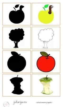 Schaduwmemory appels:  zoek de juiste schaduw bij het plaatje.